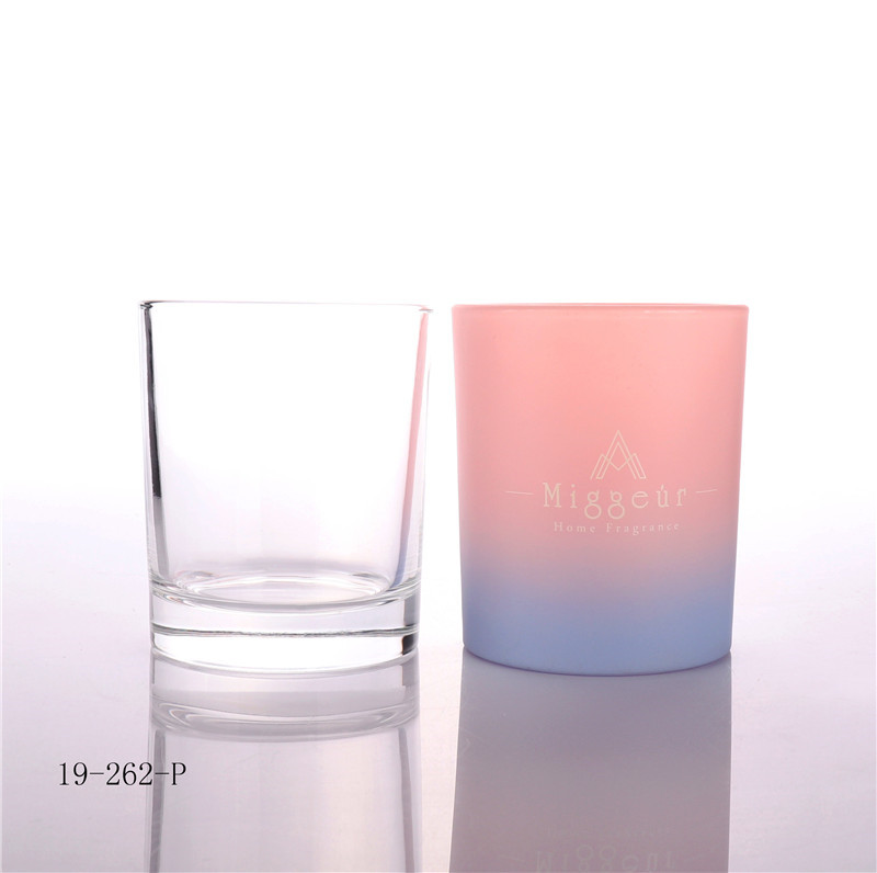 Luxury Pink Blue Candle Glass Jar