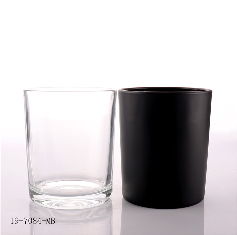 Matt Black Candle Glass Jar with Bamboo Lid