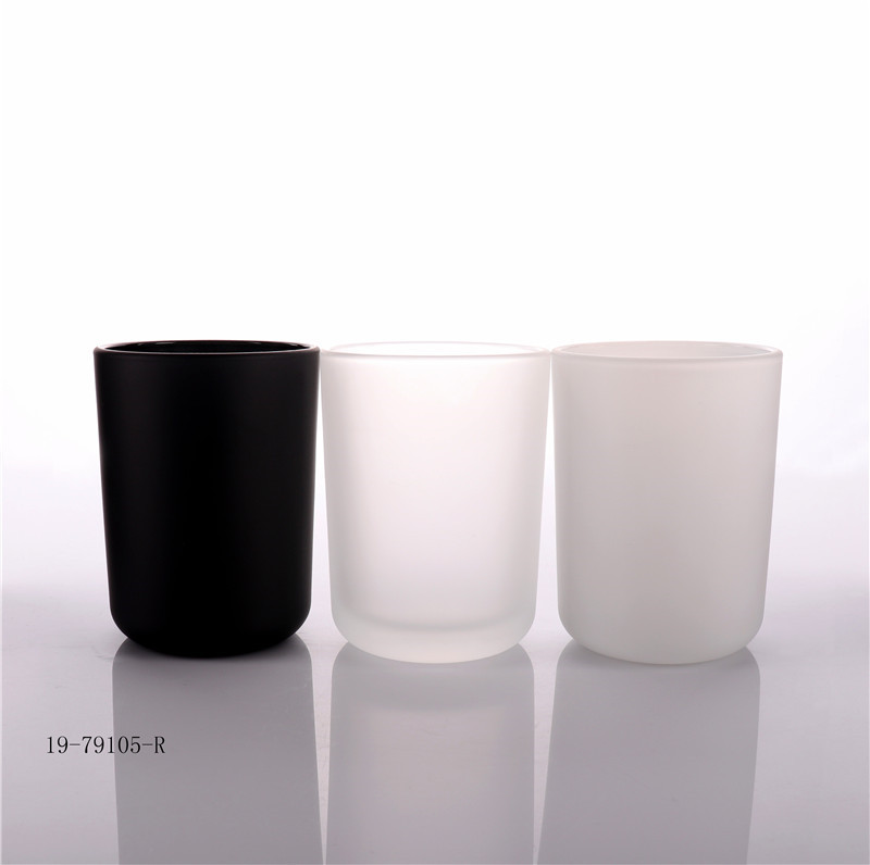 Luxury Frosted Glass Candle Jar With Wooden Lid