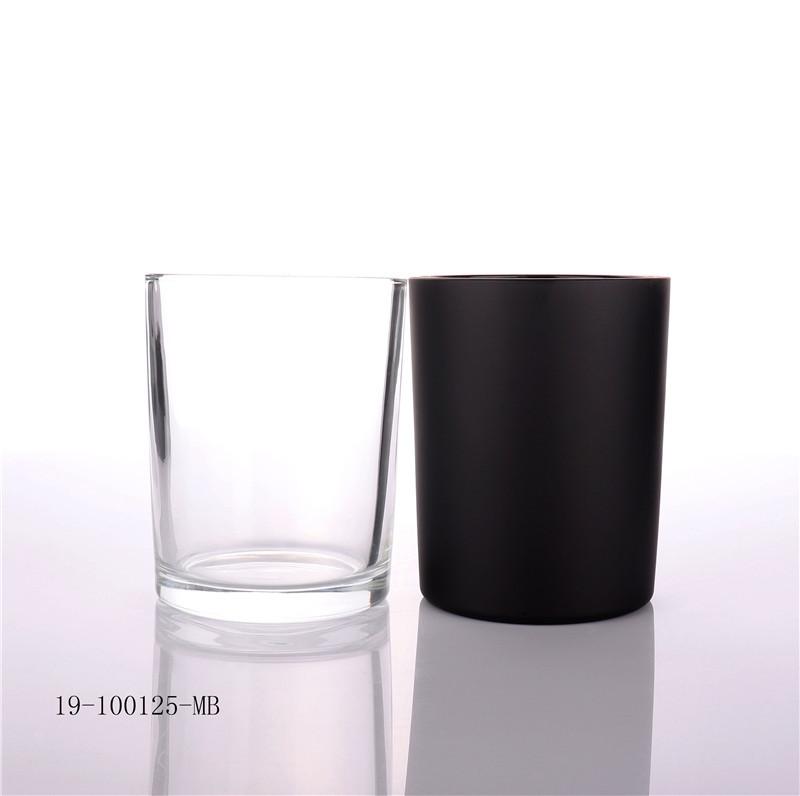 Matt Black Candle Glass Jar with Wooden Lid