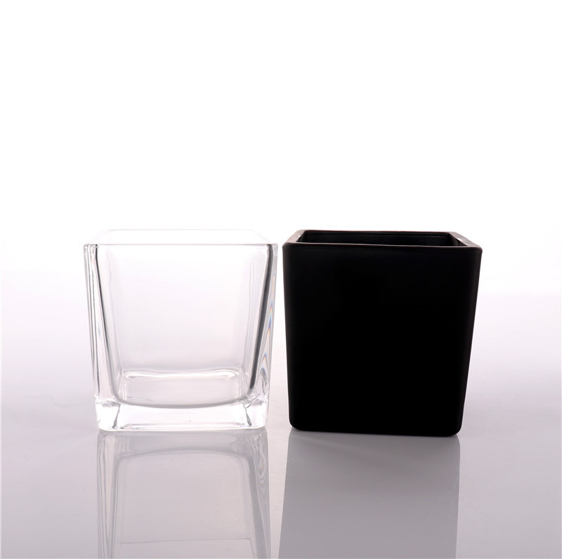 Luxury Square Empty Glass Candle Jars For Candle Making With Bamboo Lid