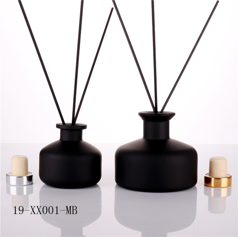 Luxury Matt Black Empty Glass Diffuser Bottle