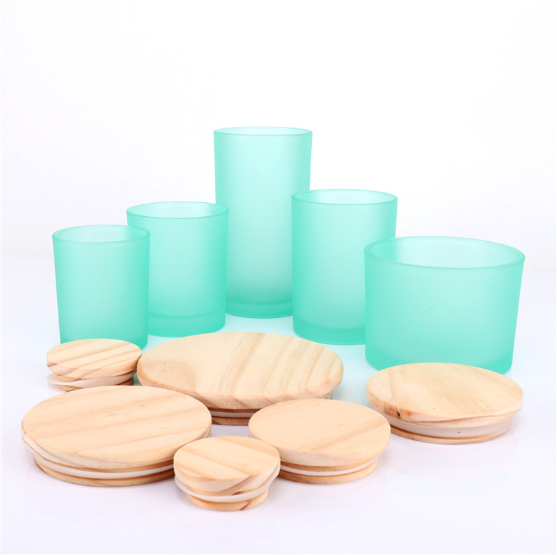 12oz Frosted Blue Glass Triple Wicks Candles Jars With Wooden Lids