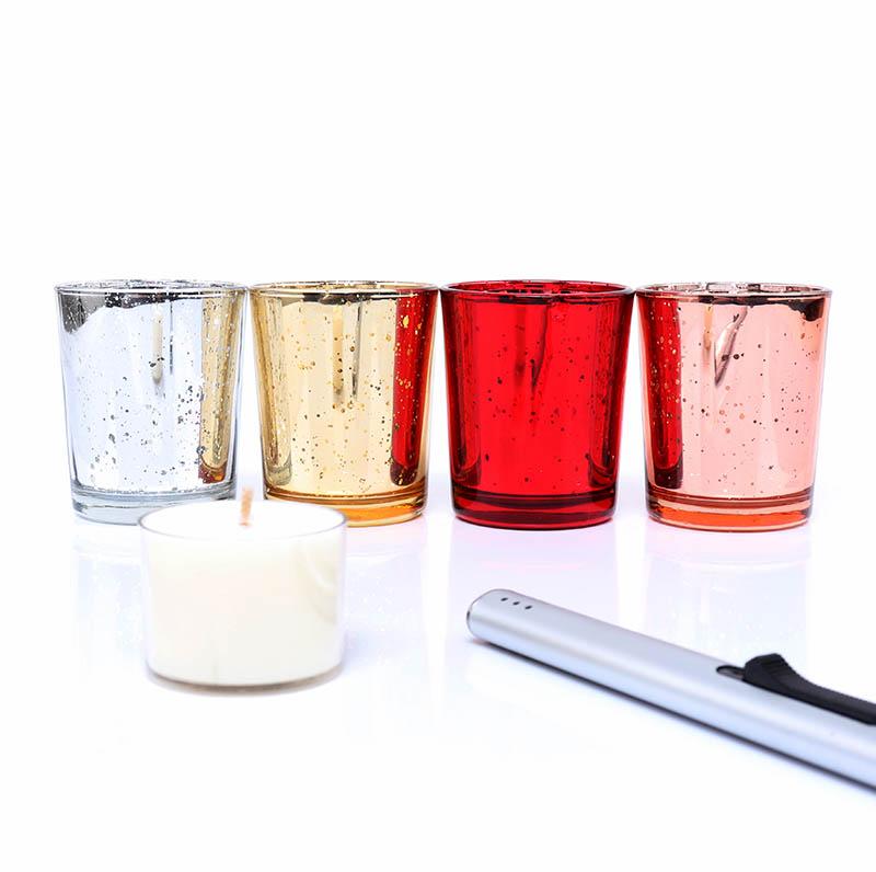 Electroplate Metallic Gold Mercury Tea Light Candle Holder For Weddings Bar
