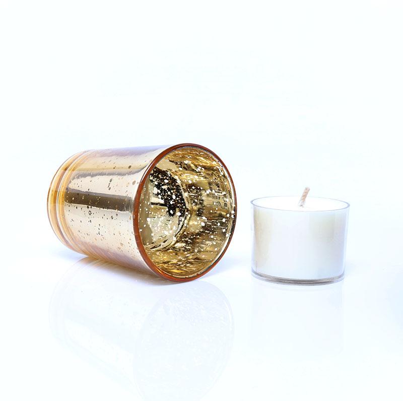 Custom Electroplate Silver Empty Mercury Tea Light Glass Candle Jar For Weddings And Home Decor
