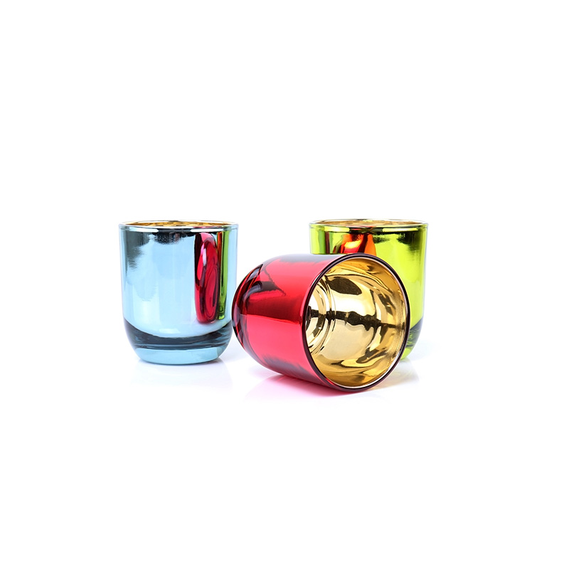 Electroplating Green Empty Glass Round Bottom Candle Jars For Wedding Candle Making