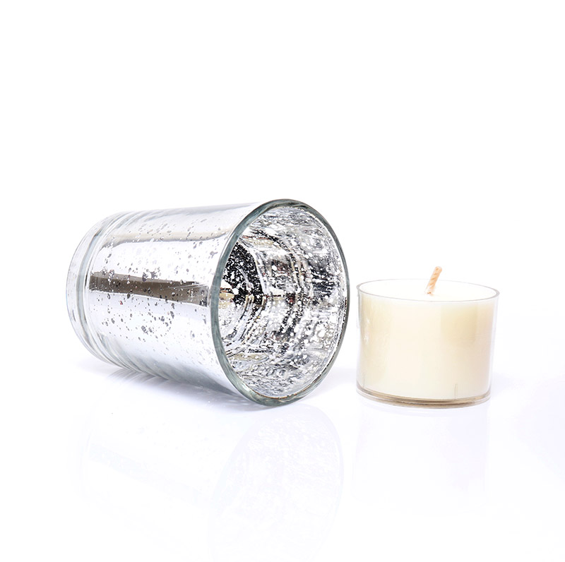 Custom Electroplate Silver Empty Mercury Tea Light Glass Candle Jar For Weddings And Home Decor