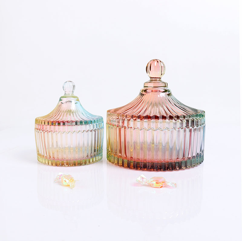 BOYE Wholesale Rainbow Color Iridescent Large Glass Candle Jars with Lids