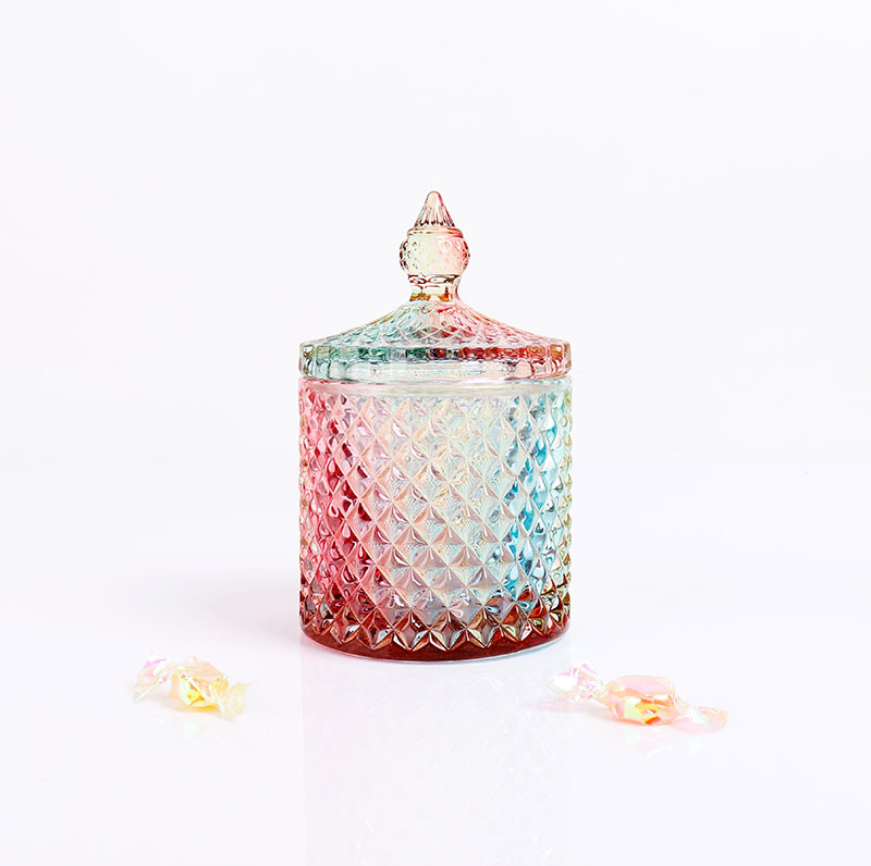 BOYE Luxury Colorful Rainbow Iridescent Pineapple Candle Glass Jars With Lid