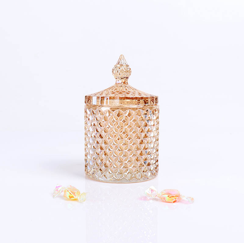 BOYE Luxury Amber Iridescent Pineapple Candle Glass Scented Soy Candle Jar With Lids
