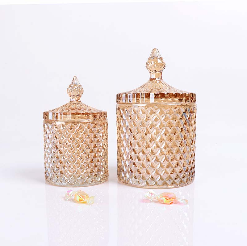 BOYE Luxury Iridescent Pineapple Shape Empty Glass Jars with Lids for Candle Making