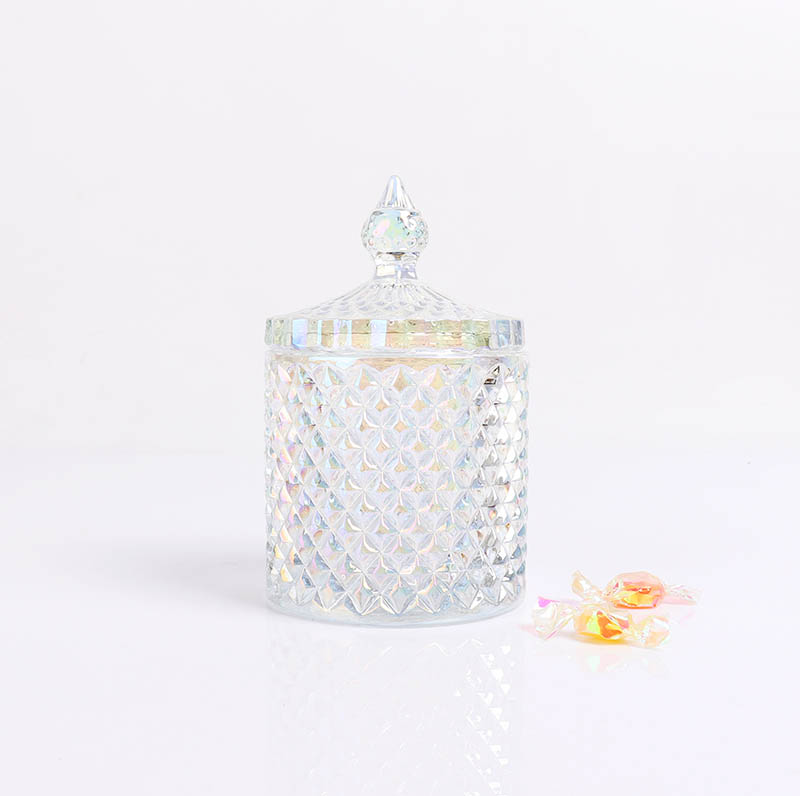 BOYE Luxury Unique Iridescent Pineapple Shape Glass Container Jars with Lids for Candles