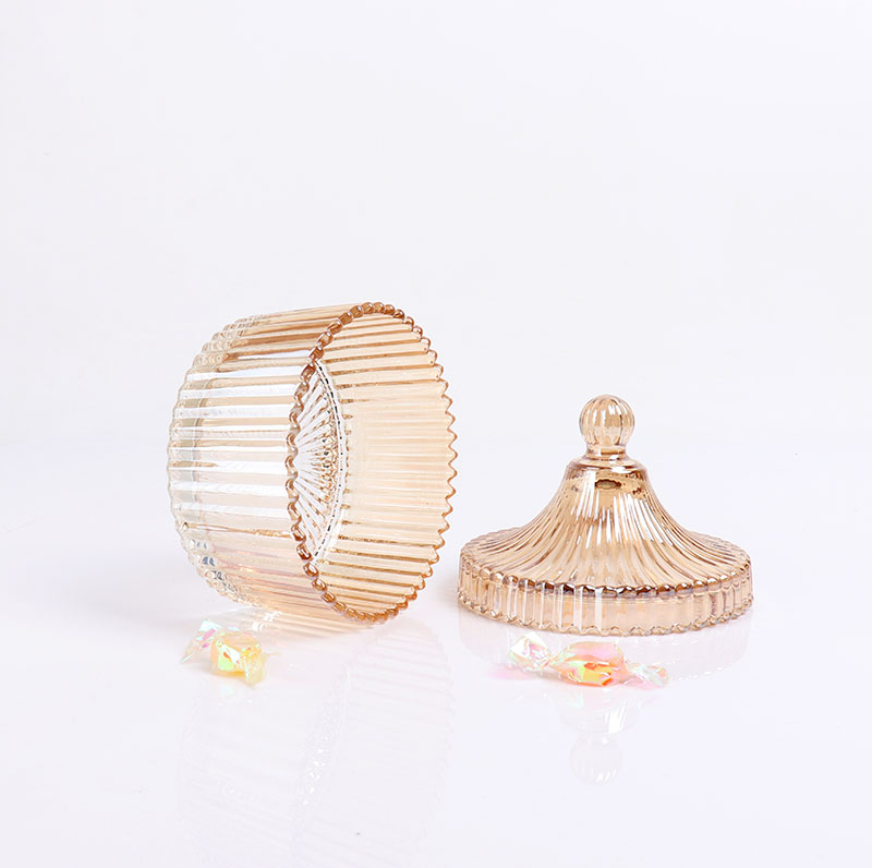 BOYE Aromatherapy Amber Iridescent Glass Ger Candle Jars With Glass Cover