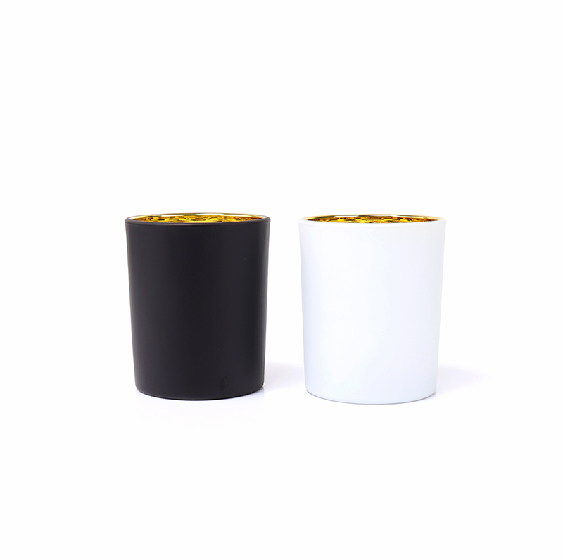 Luxury Gold Electroplating Empty Candle Glass Jars With Wood Lid For Making Candles