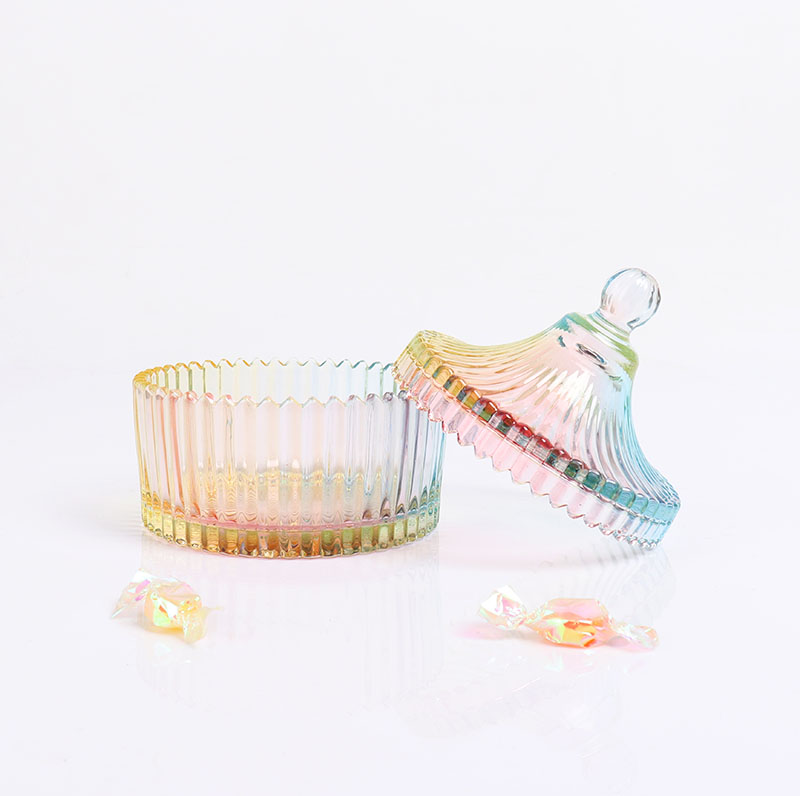 BOYE Crystal Small Rainbow Colorful Iridescent Large Storage Glass Candle Jars With Glass Dome Lid