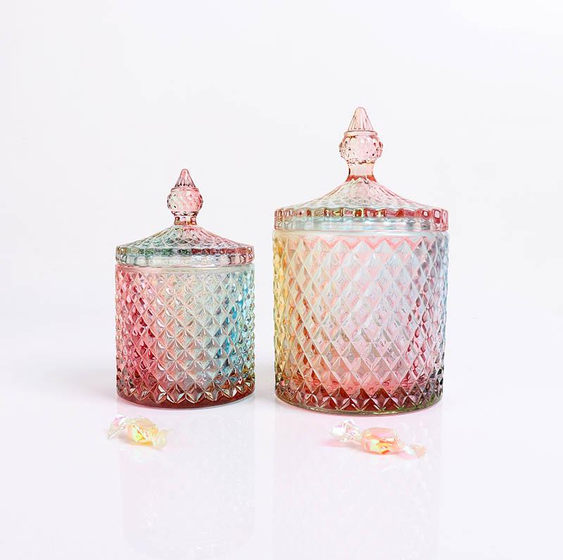 BOYE Luxury Colorful Rainbow Iridescent Pineapple Candle Glass Jars With Lid