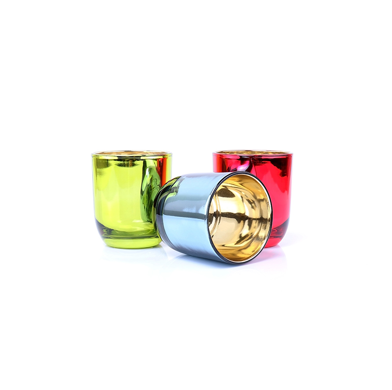 luxury Metallic Red Empty Glass Candle Jars With Wooden Lids
