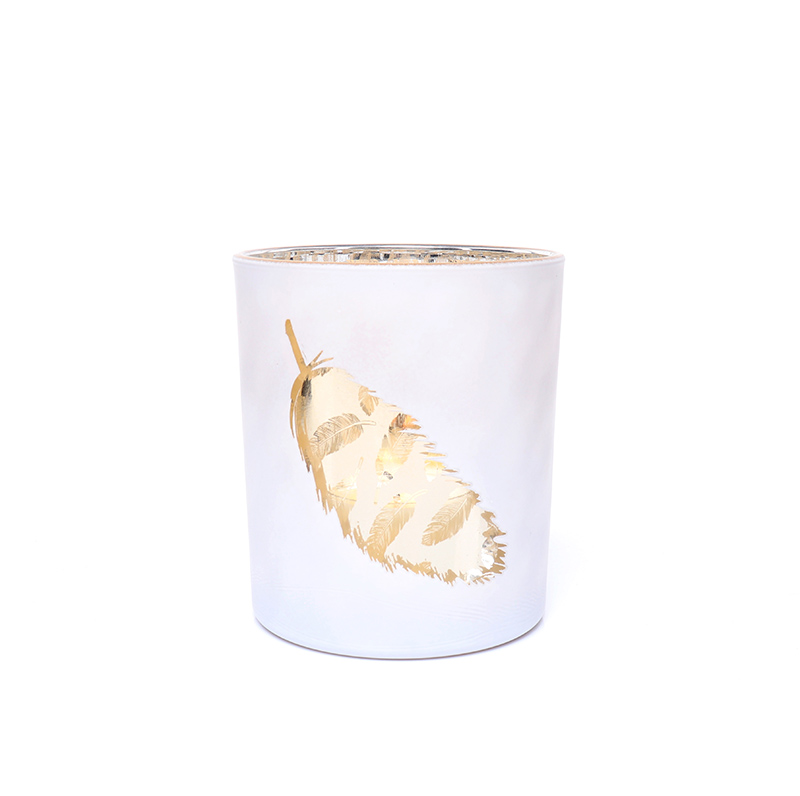 Luxury Rose Gold Feather Tea Light Votive Bar Candle Holder