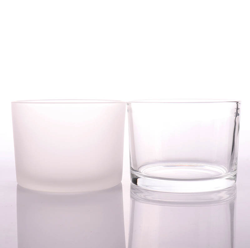 Triple Wicks Empty Frosted Candle Glass Jar With Silver Lid