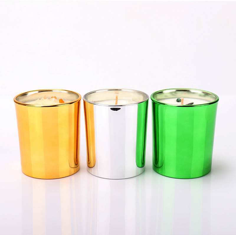 Metallic Colored Luxury Scented Candle Glass Jars In Bulk