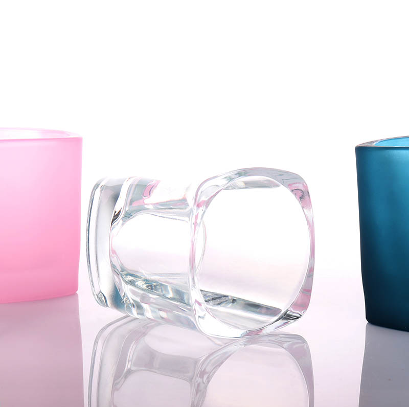 Frosted Pink Square Candle Glass Jars