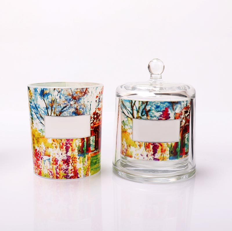 Wholesale Luxury Home Decoration Empty Candle Glass Jar With Dome Lid