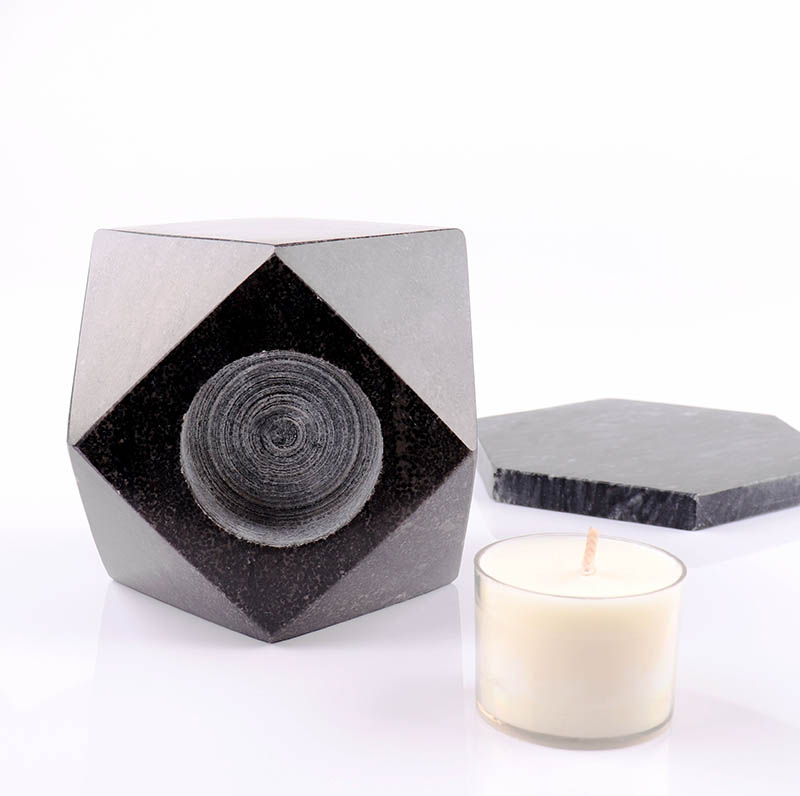 Luxury Black Marble Pillar Candle Holder Supplier